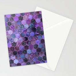 Purple geometric hexagonal elegant & luxury pattern Stationery Cards