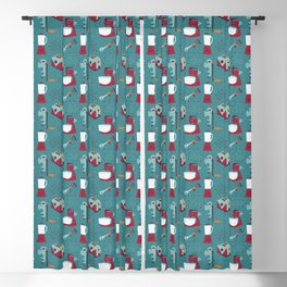Retro Kitchen - Teal and Raspberry Blackout Curtain