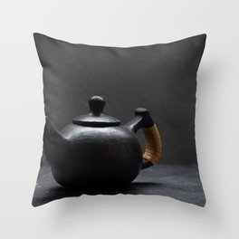 Teapot made from Black Pottery Throw Pillow