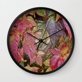 Glossy autumn leaves Wall Clock