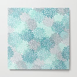 Modern Floral Prints, Teal, Turquoise and Gray Metal Print