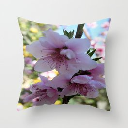 Pastel Shades of Peach Tree Blossom Throw Pillow