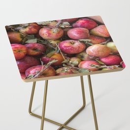 Pile of freshly picked organic farm apples with imperfections Side Table