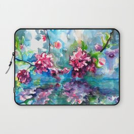 CHERRY TREE MIRRORING IN THE WATER - WATERCOLOR Laptop Sleeve