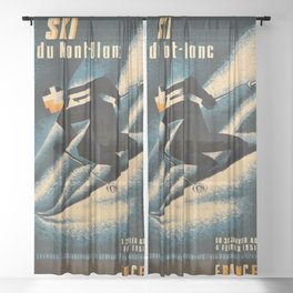 1951 Ski Mont Blanc Lithograph Vintage Poster - Advertisement Wall Art Sheer Curtain