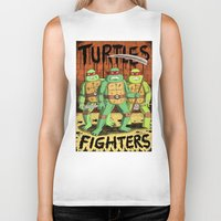 turtles Biker Tanks featuring TURTLES FIGHTERS by Jack Teagle