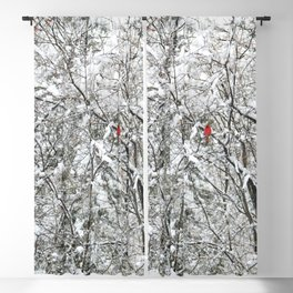 Bright Cardinal in the Snowy Woods Blackout Curtain