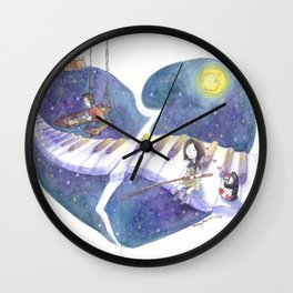 PianoBoy Plays On As Sad Girl Fishes for Love in the Stars Wall Clock