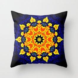 Yellow Orange Floral Madala  Background Dark Blue Throw Pillow