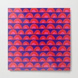 Retro Sunset – Illustration in bright blue, orange and red Metal Print