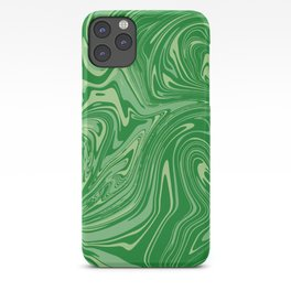 Green pastel abstract marble iPhone Case