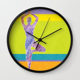 Drawing silhouette of woman doing yoga Wall Clock