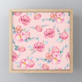 Shabby Chic Pink Peonies and Roses Watercolor Flowers Pattern  Framed Mini Art Print