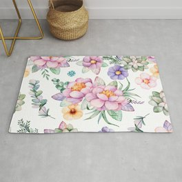 Pastel pink lavender green watercolor hand painted floral Rug