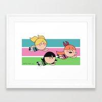 powerpuff girls Framed Art Prints featuring Powerpuff by MisterHope