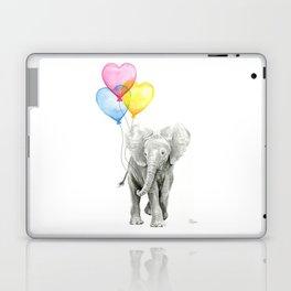 Elephant Watercolor with Balloons Rainbow Hearts Baby Animal Nursery Prints Laptop & iPad Skin