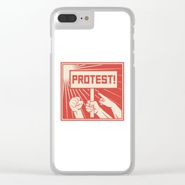 protest design - lots of furious people (man holding transparent, demonstrations) Clear iPhone Case