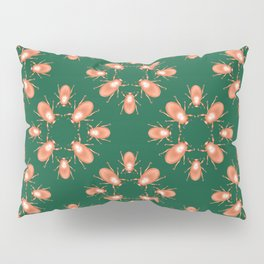Copper Beetle on Green Background Pillow Sham