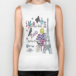 Eiffel Tower Postcard Biker Tank