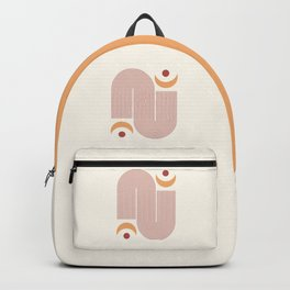 Geometric lines and Moon phases Terracotta Gold Beige Backpack