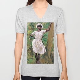 Sketch of Young Black Woman in White Dress and Hat - Gari Melchers Unisex V-Neck