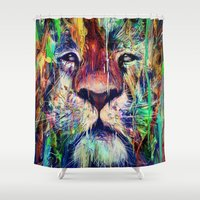 lion Shower Curtains featuring Lion by nicebleed