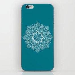 Flower Mandala in White on Elegant Teal iPhone Skin
