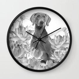 Weimaraner Dog Lotos Flowers - Black & White #society6 #lotos Wall Clock