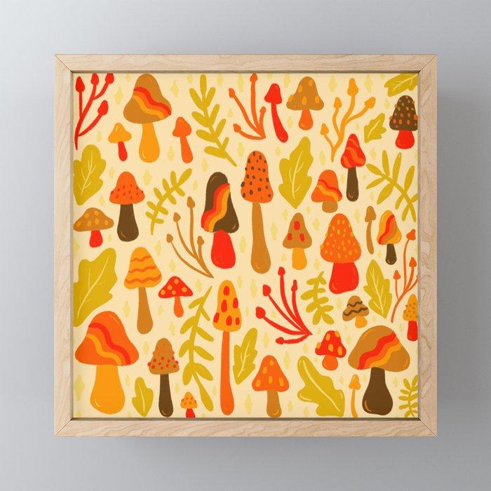 Spring Mushroom Print Framed Mini Art Print