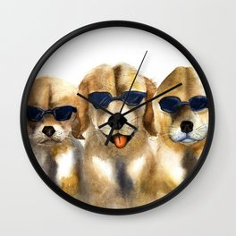 Yellow dogs  in funny glasses Wall Clock