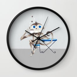Monkey enjoys coffee smell Wall Clock