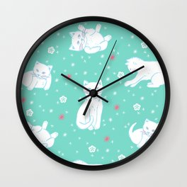 Snow Kitties Wall Clock