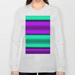 Purple & Mint Horizontal Stripes Long Sleeve T-shirt