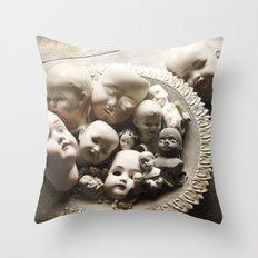 Rucus Studio Antique Doll Heads Throw Pillow