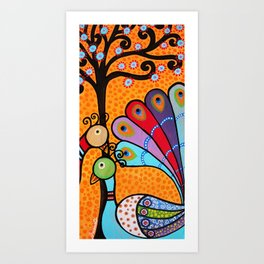 Mexican Tree of Life Peacock Painting by prisarts Art Print