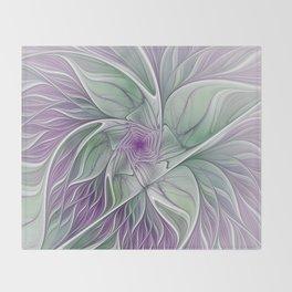 Flower Dream, Abstract Fractal Art Throw Blanket