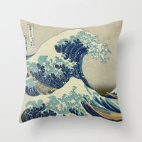 xbox Throw Pillows featuring The Great Wave off Kanagawa by Palazzo Art Gallery