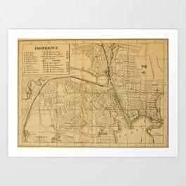 Vintage Map of Providence RI (1880) Art Print