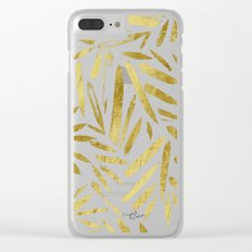 Glam Gold Leaves Clear iPhone Case