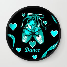 Love to Dance Teal Ballet Shoes Wall Clock