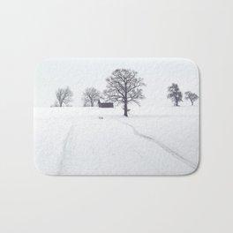 Rural Winter Landscape Bath Mat