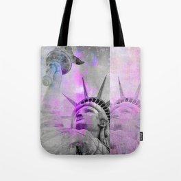 Statue of  Liberty pink mixed media art Tote Bag