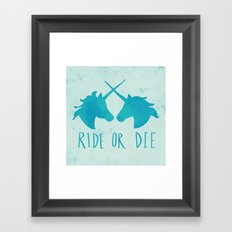 Ride or Die x Unicorns x Turquoise Framed Art Print