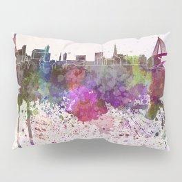 Hamburg skyline in watercolor background Pillow Sham