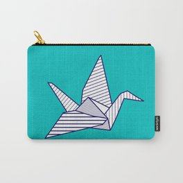 Swan, navy lines on turquoise Carry-All Pouch