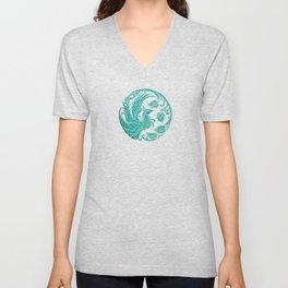 Traditional Teal Blue Chinese Phoenix Circle Unisex V-Neck