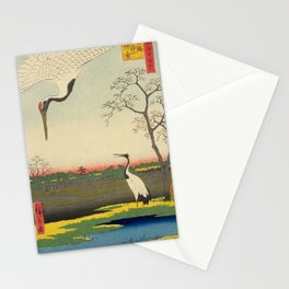 Crane and Cherry Blossom Ukiyoe Landscape Stationery Cards