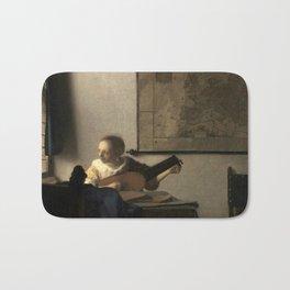 Vermeer,Woman with a Lute,Mujer con laúd, De luitspeelster Bath Mat