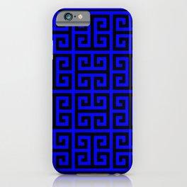 Greek Key (Blue & Black Pattern) iPhone Case