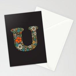 Hippie Floral Letter U Stationery Cards